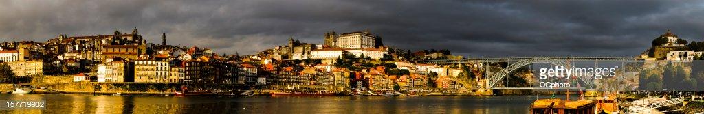Panoramic - city of Porto at sunset : Stock Photo