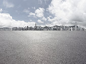 Panoramic  city skyline with empty road