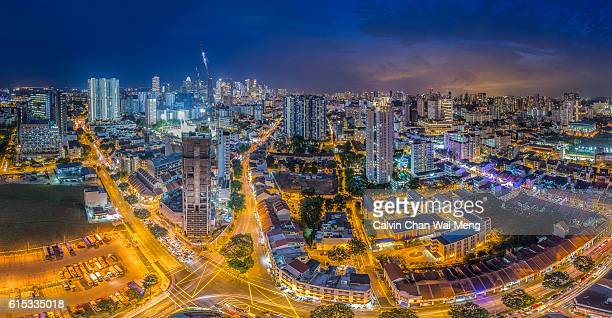 Panoramic Cityscape of Singapore at night