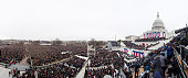 A panoramic composite image of President Barack Obama's Inaugural speech at the ceremonial swearingin on the West Front of the US Capitol during the...