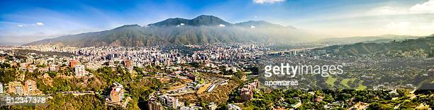 Panoramic image of Caracas city aerial view with El Avila