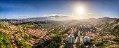 Panoramic image of Caracas city aerial view with El Avila