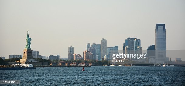 Panoramic image of lower Manhattan skyline from Staten Island : Stock Photo