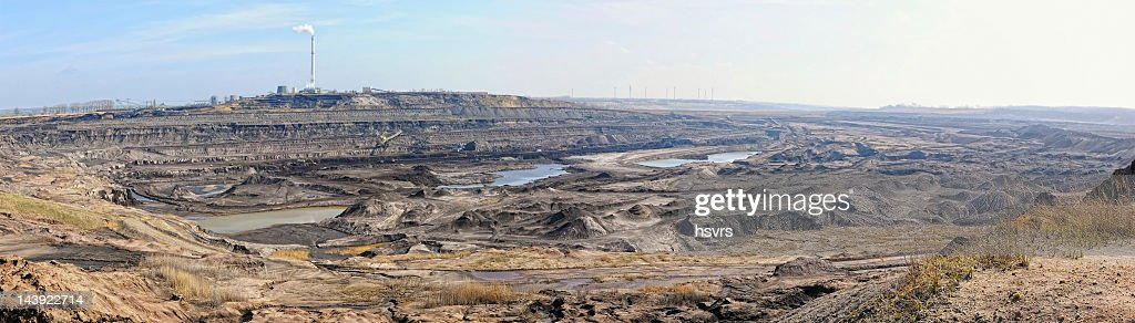 panoramic image of open Coal strip mine : Stock Photo