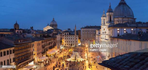 Panoramic image of Piazza Navona at the blue hour, Rome, Italy