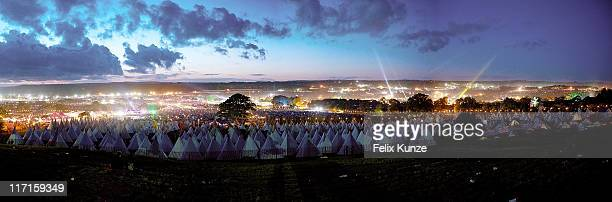Panoramic image of the site at Worthy Farm on June 23 2011 in Glastonbury United Kingdom