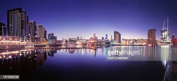 Panoramic image of Victoria Harbour in Melbourne