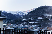 Houses and snow mountains panorama in Limone Piemente,Italy