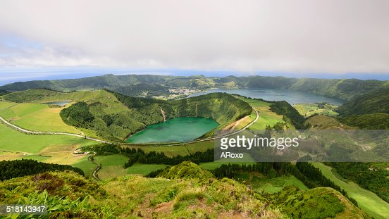 Panoramic landscape from Azores lagoons