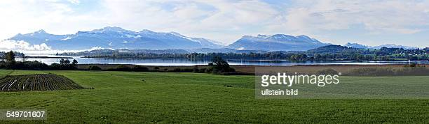 Panoramic landscape over the Chieemsee lake Chiemgau Upper Bavaria Germany