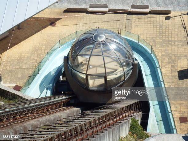 Panoramic lift in the shape of a glazed sphere in La Coruña