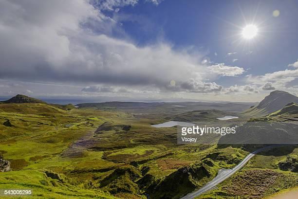 Panoramic Loch Cleat, Quiraing under sunlight