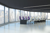 Panoramic conference room interior with a concrete floor and a long black table with purple office chairs standing around it. 3d rendering