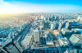 Asia Business concept for real estate and corporate construction - panoramic modern city skyline aerial view of Yokohama and land development under blue sky in Yokohama, Japan
