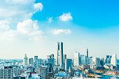 panoramic modern city skyline aerial view of  Yokohama, Japan