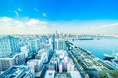 panoramic modern city skyline aerial view under blue sky in Yokohama, Japan
