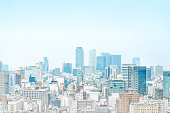 Asia Business concept - panoramic modern cityscape building bird eye aerial view under sunrise and morning blue bright sky from Nagoya TV Tower in Nagoya, Japan mix hand drawn sketch illustration