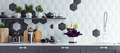 Panoramic modern kitchen interior background, 3d render