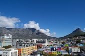 Panoramic City Scape Mother City Cape Town Bo Kaap Colourful Historic Area with Table Mountain and City Centre Western Cape South Africa