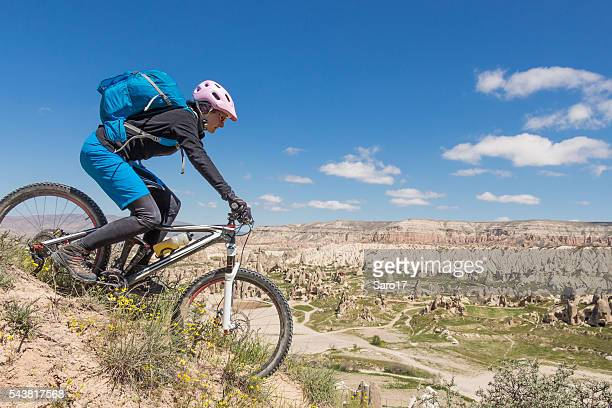 Panoramic mountainbike downhill in Cappadocia, Turkey