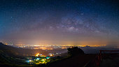 panoramic night landscape mountain and milky way  galaxy background , panorama Thailand , long exposure , low light