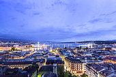 Panoramic night view of the city of Geneva, Lake Geneva switzerland