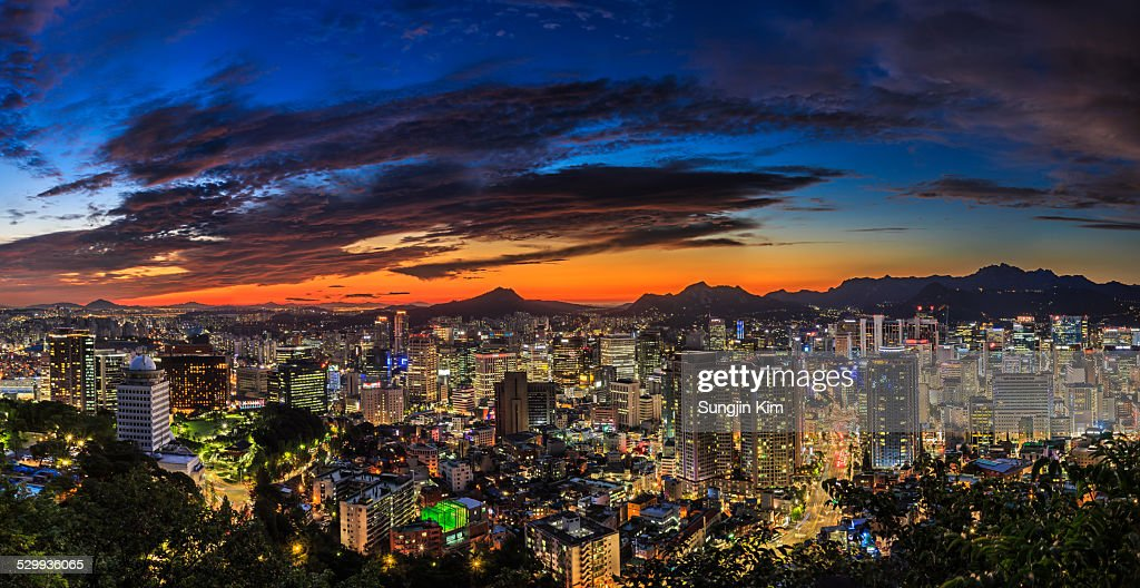 Panoramic nightscape of Seoul