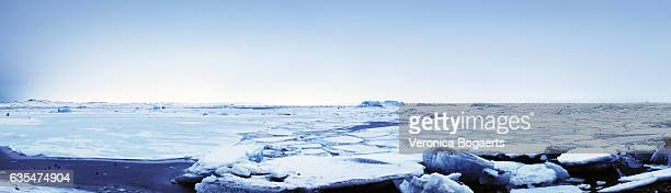 Panoramic of a frozen  Jokulsarlon  lagoon in winter, Iceland