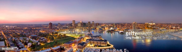 Panoramic of Baltimore Skyline and Inner Harbor : Stock Photo
