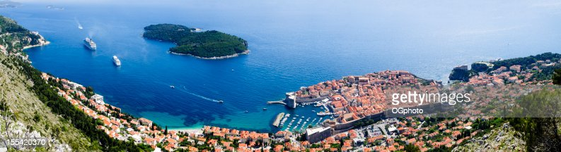 Panoramic of Dubrovnik and Lokrum Island, Croatia : Stock Photo