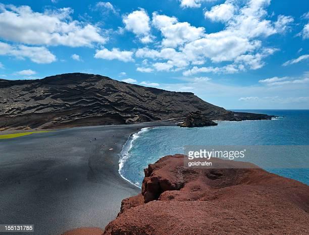 Panoramic of El Golfo, Volcanic beach in Ianzarote