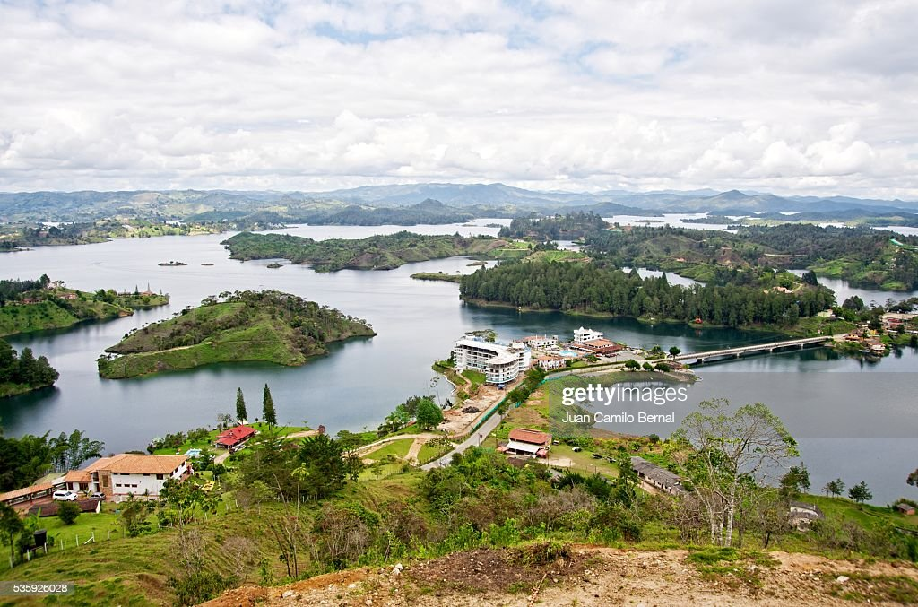 Panoramic of El Peñol lake : Stock Photo