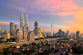 Panoramic of Kuala Lumpur City at sunset hour