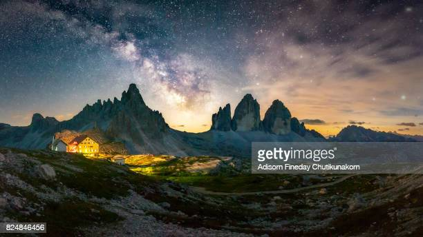 Panoramic of Milky Way at tre Cime of the Dolomites (Drei Zinnen)