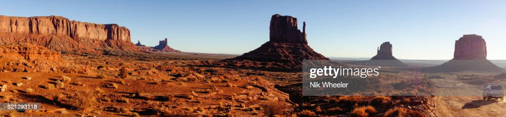 Panoramic of Mittens and mesa in Monument Valley on Utah/Arizona border