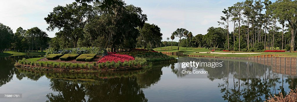 Panoramic of the 13th hole of THE PLAYERS Stadium Course at the TPC Sawgrass in Ponte Vedra Beach FL Photo by Chris Condon/PGA TOUR