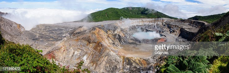 Panoramic of the Poas Volcano crater : Stock Photo