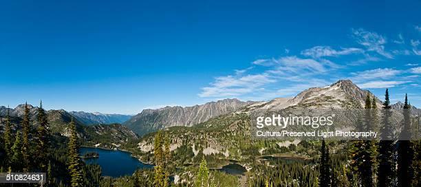 Panoramic of the Selkirk Mountain range, Kaslo Lake, Keen Lake and Garlano Lake in Kokanee Glacier Provincial Park in the Kootenay Region, Nelson, British Columbia, Canada