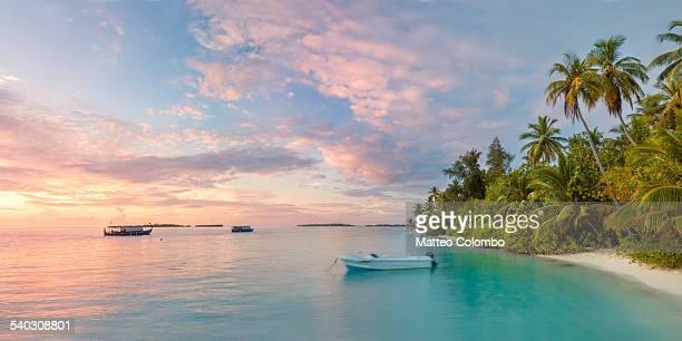 Panoramic of tropical beach at sunrise, Maldives