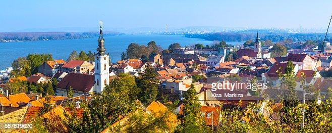 Panoramic of Zemun, with church tower in Belgrade : Stock Photo