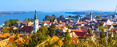 Panoramic view of Zemun, with church tower in Belgrade, Republic of Serbia