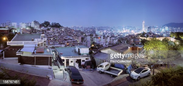 Panoramic overview of Seoul skyline at dusk : Stock Photo