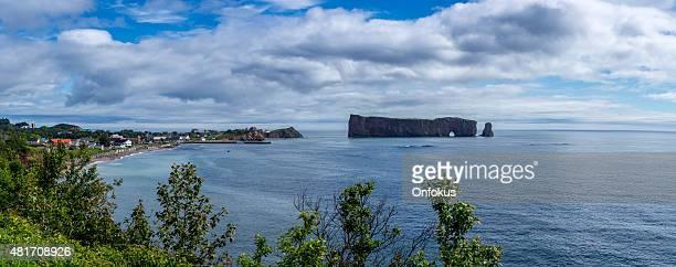 Panoramic Perce Rock in Perce, Quebec Canada