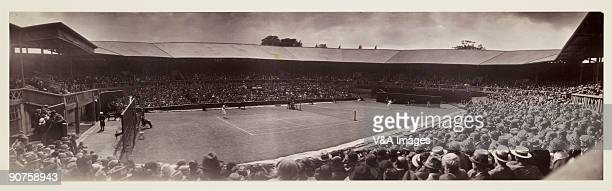 Panoramic photograph by Alfred Hind Robinson of crowds watching a women�s singles match on Centre Court during the tennis championships