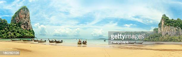 Panoramic Railay Beach with longtail boats