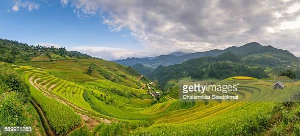 Panoramic rice terraces at Mu Cang Chai, Vietnam