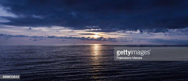 Panoramic seascape at dawn, Camogli, Liguria, Italy