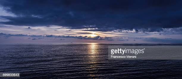 Panoramic seascape at dawn, Camogli, Liguria, Italy