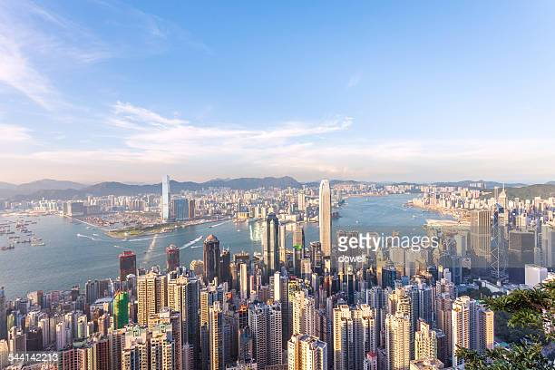 panoramic skyline and cityscape of hongkong at day
