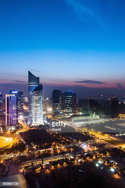 Panoramic skyline and illuminated buildings